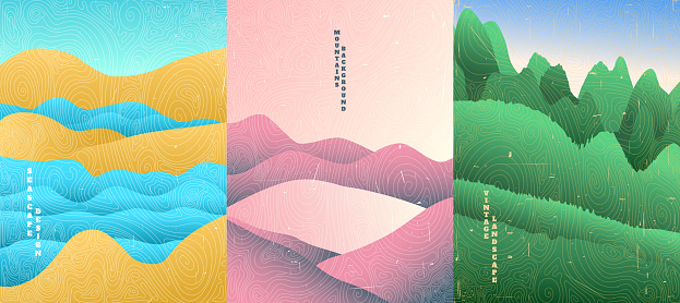 Vector illustration landscape. Wood surface texture. Hills and water, meadow, rocks. Line wave pattern. Mountain background. Asian style. Design for poster, book cover, web template, brochure.