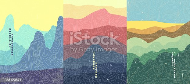 Vector illustration landscape. Wood surface texture. Hills, mountains, meadow. Japanese wave pattern. Mountain background. Asian style. Design for poster, book cover, web template, brochure.