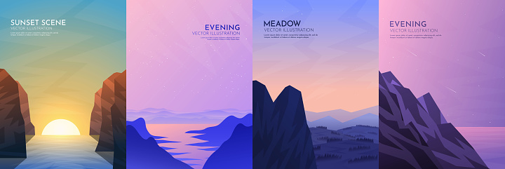Vector illustration. Landscapes collection. Flat style. Gradient color. Polygonal shapes. Mountains near water, sunset scene, meadow and rock. Design for poster, book cover, banner, flyer, gift card