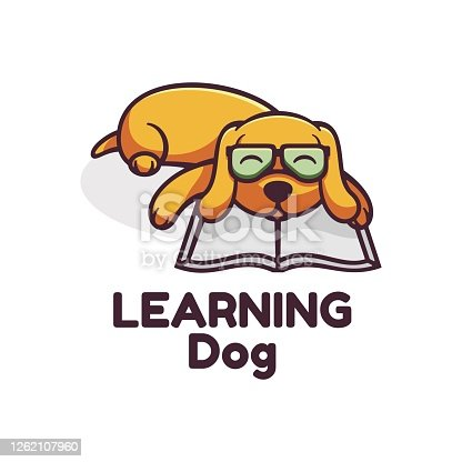 istock Vector Illustration Learning Dog Simple Mascot Style. 1262107960