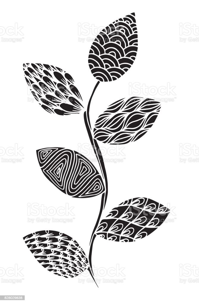 Vector illustration leaves and in doodle style. Floral, ornate, decorative - Illustration Coloring, Autumn, Drawing - Activity, Single Line, Textile vector art illustration