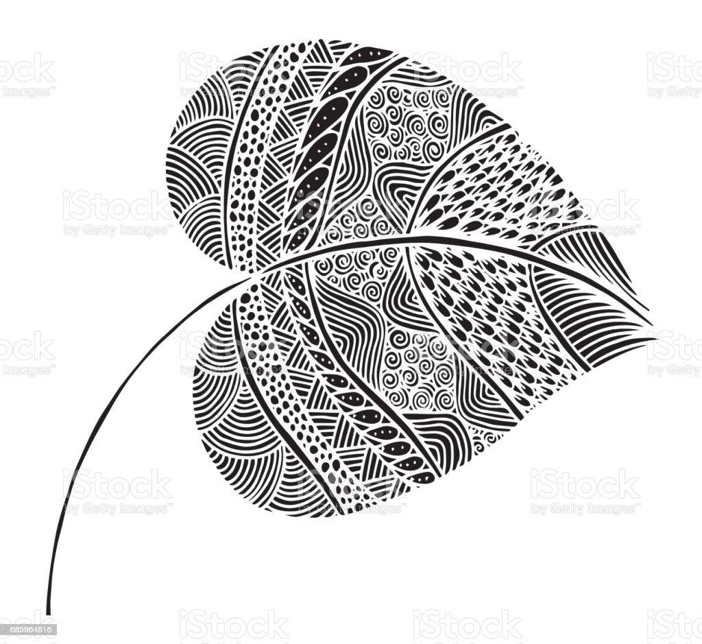 Vector illustration leaves doodle style. Floral, ornate, decorative vector art illustration