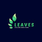 Vector Illustration Leaves Gradient Colorful Style.
