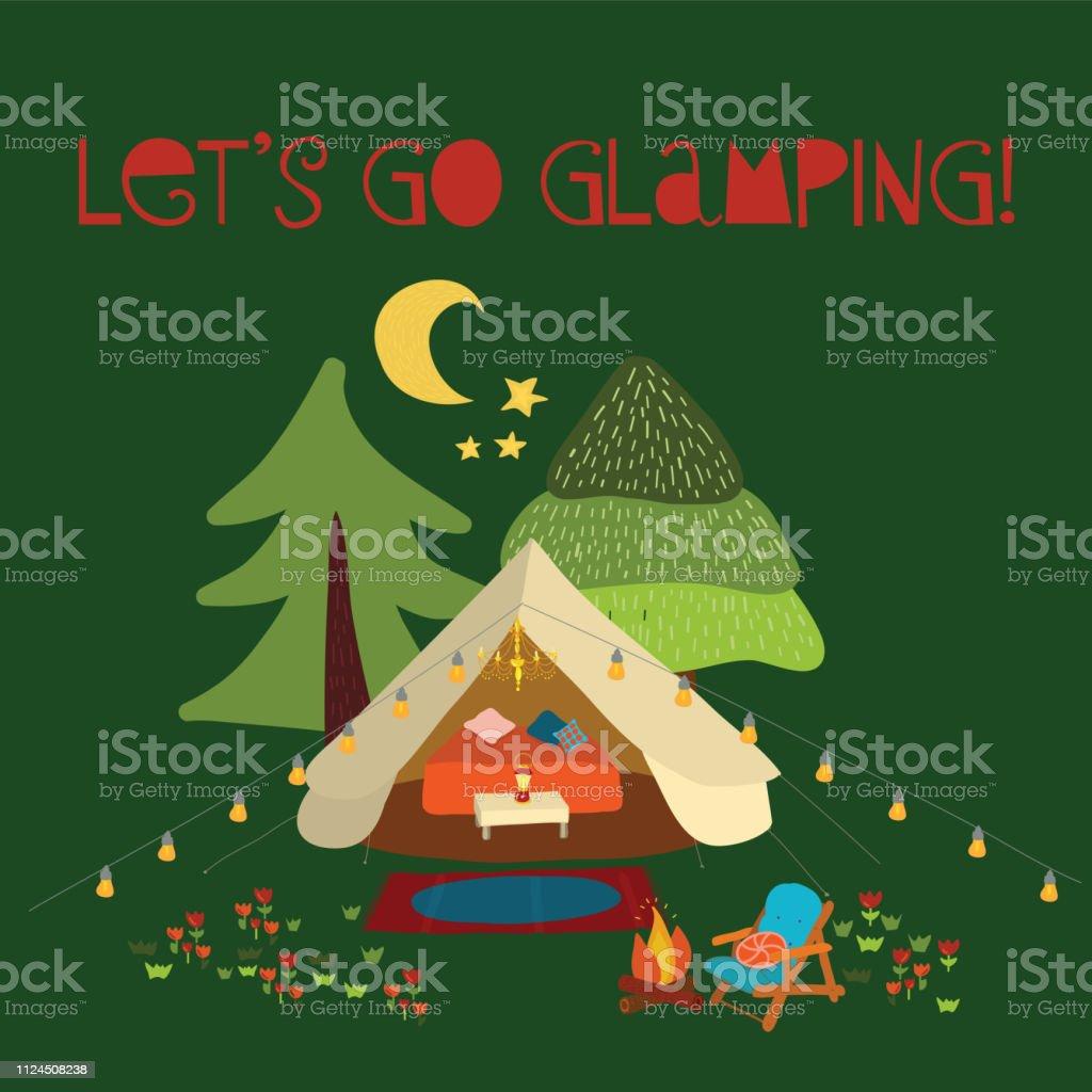 Vector illustration Lets go glamping - summer camping scene. Boho teepee tent. Camp night scene vector art illustration