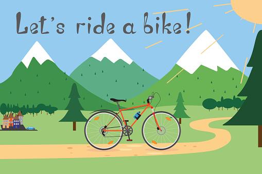 """Vector illustration """"Let's ride a bike!"""""""