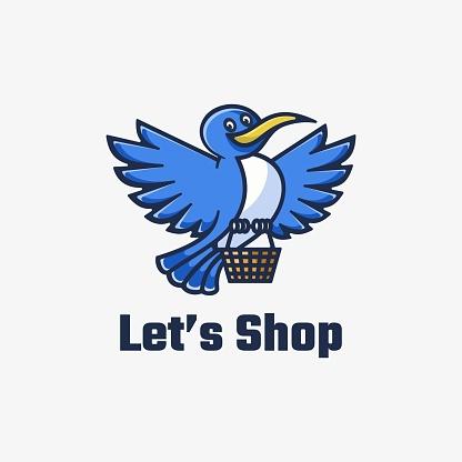 Vector Illustration Let's Shop Simple Mascot Style.
