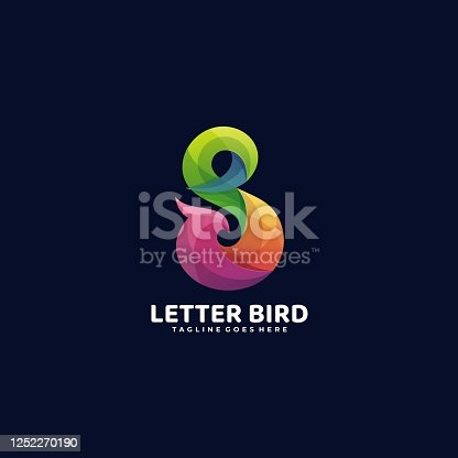 istock VectoR Illustration Letter Bird Gradient Colorful Style. 1252270190