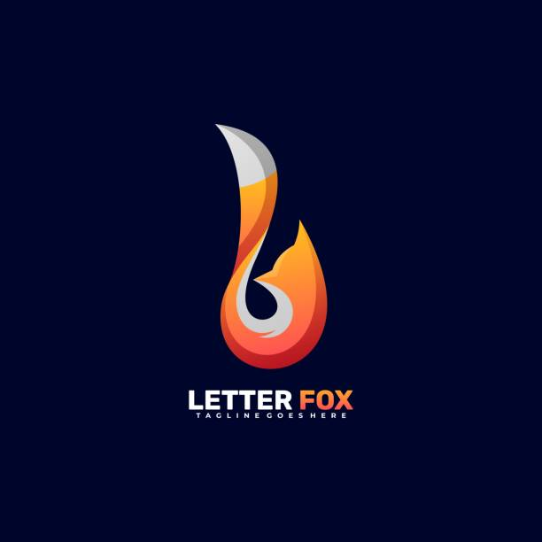 Vector Illustration Letter Fox Gradient Colorful Style. Vector Illustration Letter Fox Gradient Colorful Style. carnivorous stock illustrations