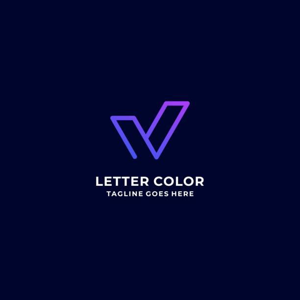 Vector Illustration Letter V Gradient Colorful Style. Vector Illustration Letter V Gradient Colorful Style. idyllic stock illustrations