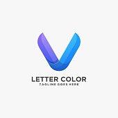 Vector Illustration Letter V Gradient Colorful Style.