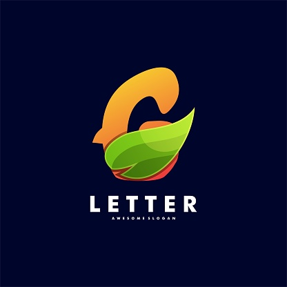 Vector Illustration Letter with Leaf Gradient Colorful Style.