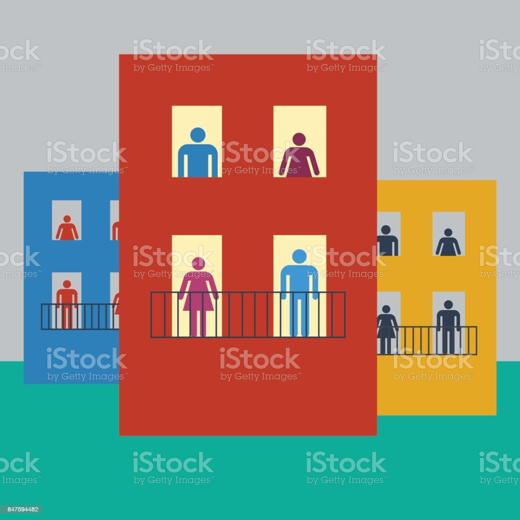 Vector illustration life of condominium, flat design - illustrazione arte vettoriale