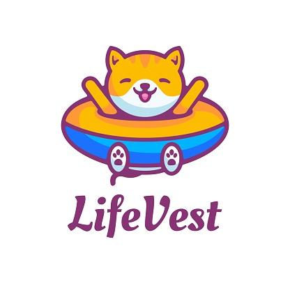 Vector Illustration Life Vest Simple Mascot Style.