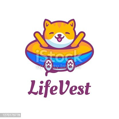 istock Vector Illustration Life Vest Simple Mascot Style. 1270175778