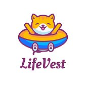 Vector Illustration Life Vest Simple Mascot Style.