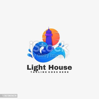 istock Vector Illustration Light House Gradient Colorful Style. 1282965626