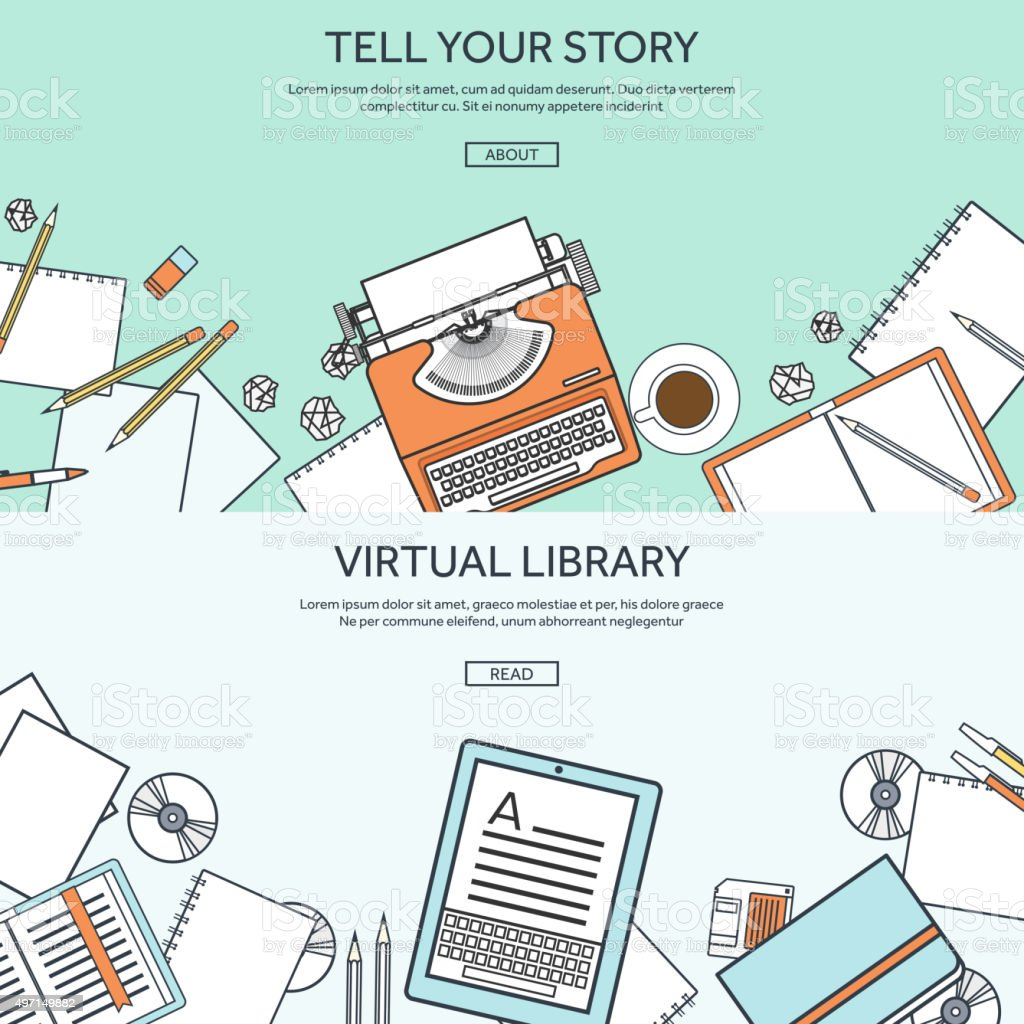 Vector illustration, lined. Flat typewriter. Tell your story. Blogging vector art illustration
