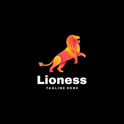 Vector Illustration Lioness Gradient Colorful Style.