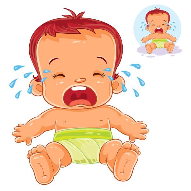 vektor-illustration kleine baby in windeln schreie - wickeltisch stock-grafiken, -clipart, -cartoons und -symbole