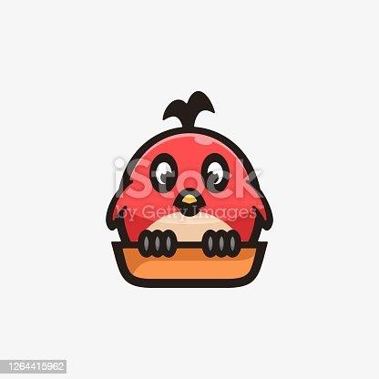 istock Vector Illustration Little Bird Simple Mascot Style. 1264415962