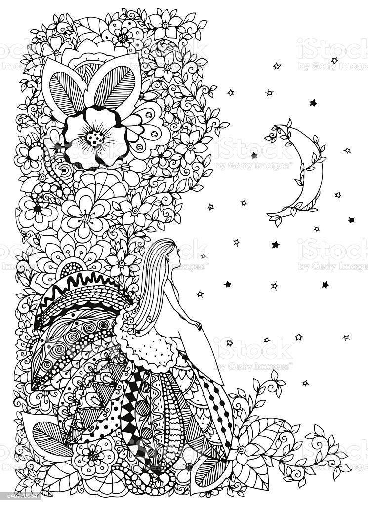 Vector illustration, little girl sitting on a flower vector art illustration