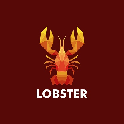 Vector Illustration Lobster Low Poly Style