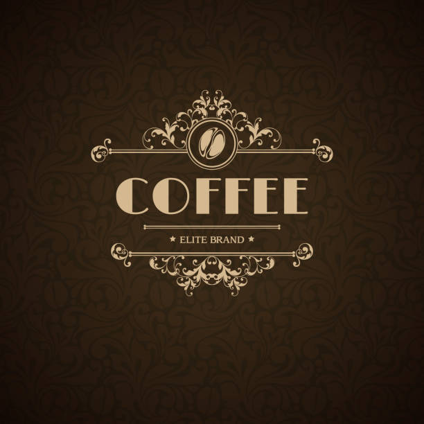 Vector illustration logo coffee house, coffee shop, cafe, menu, business sign, identity, Vector illustration logo coffee house, coffee shop, cafe, menu, business sign, identity, branding design element in vintage elegant style Template flourishes calligraphic frame and coffee bean icon mistery stock illustrations