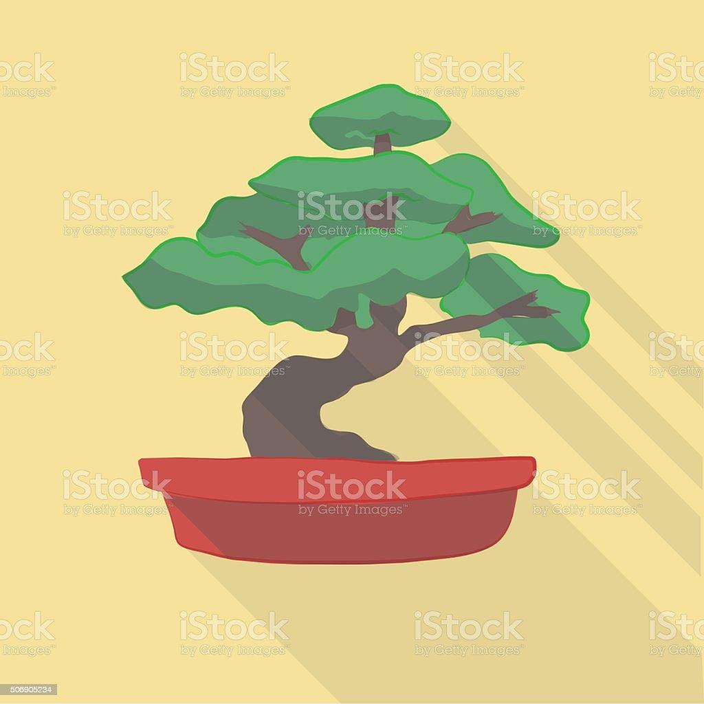 Vector illustration long shadow flat icon of bonsai tree vector art illustration