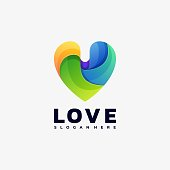 Vector Illustration Love Gradient Colorful Style.