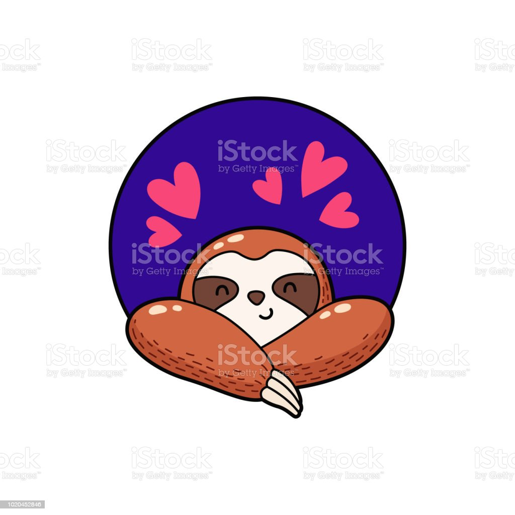vector illustration lovely cartoon sloth logo icon template for