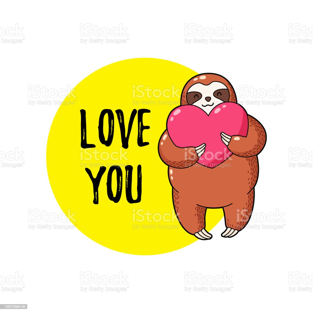 vector illustration lovely cartoon sloth with a heart in his hands