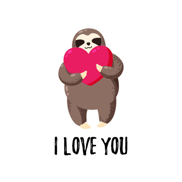 Vector illustration. Lovely cartoon sloth with a heart in his hands. Template for printing, postcards, covers, textiles, clothes Vector illustration. Lovely cartoon sloth with a heart in his hands. Template for printing, postcards, covers, textiles, clothes baby sloth stock illustrations