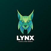 Vector Illustration Lynx Gradient Colorful Style.