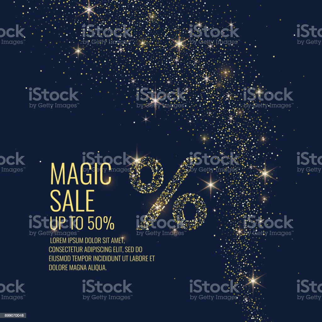 Vector illustration. Magic Sale. Sparkling glittery particles on a dark background