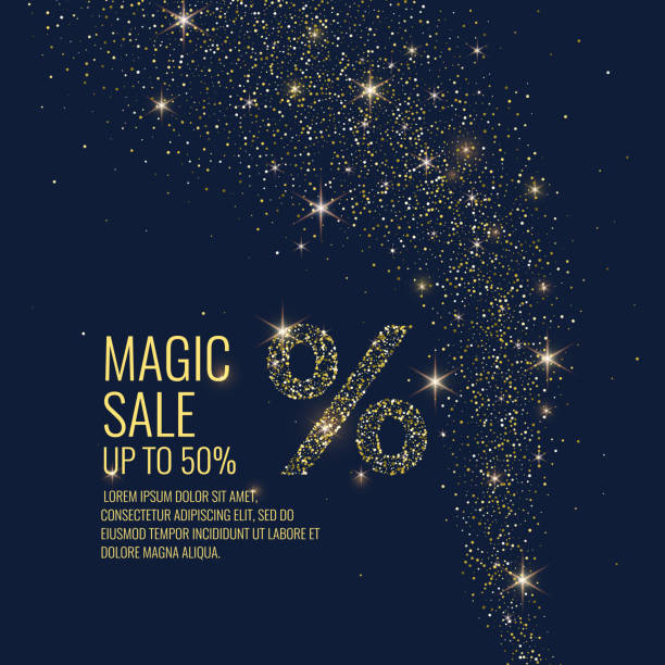 Vector illustration. Magic Sale. Sparkling glittery particles on a dark background Bright vector illustration. Magic Sale. Sparkling glittery particles on a dark background. celebrities stock illustrations