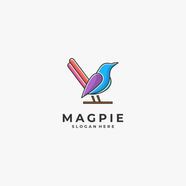 Vector Illustration Magpie Bird Color Line Art Style. Vector Illustration Magpie Bird Color Line Art Style. perching stock illustrations