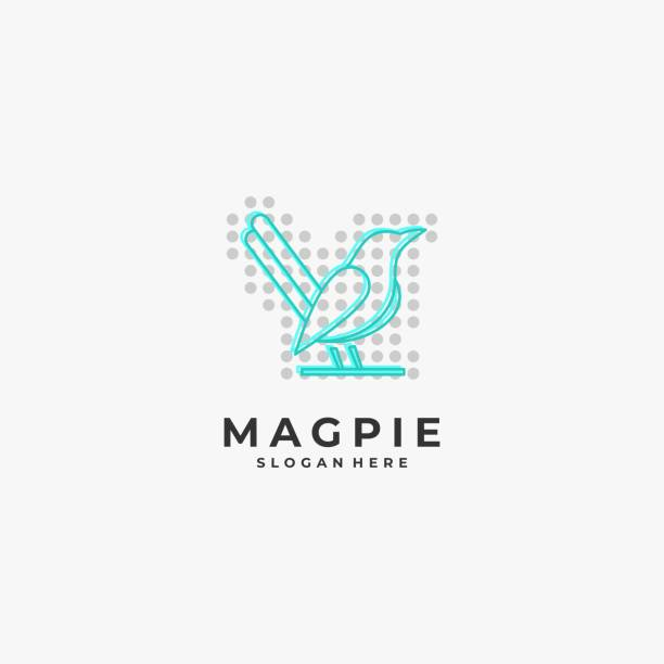 Vector Illustration Magpie Bird Line Art Style. Vector Illustration Magpie Bird Line Art Style. perching stock illustrations