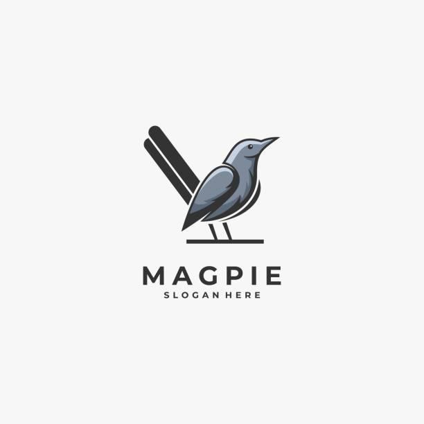 Vector Illustration Magpie Bird Mascot Cartoon Style. Vector Illustration Magpie Bird Mascot Cartoon Style. perching stock illustrations