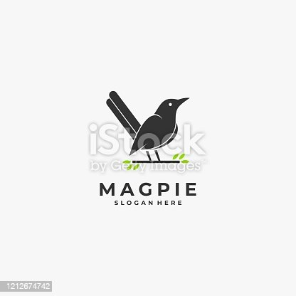 Vector Illustration Magpie Bird Silhouette Style.