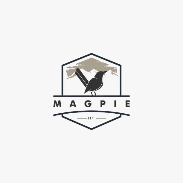 Vector Illustration Magpie Bird Vintage Badge Style. Vector Illustration Magpie Bird Vintage Badge Style. perching stock illustrations