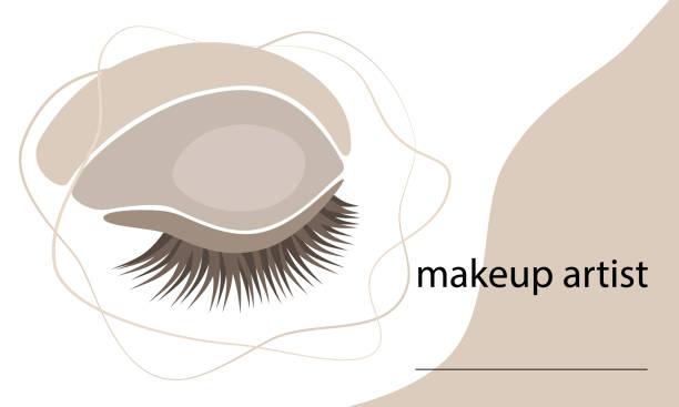 bildbanksillustrationer, clip art samt tecknat material och ikoner med vektorillustration. make-up artist's visitkort koncept. - makeup artist