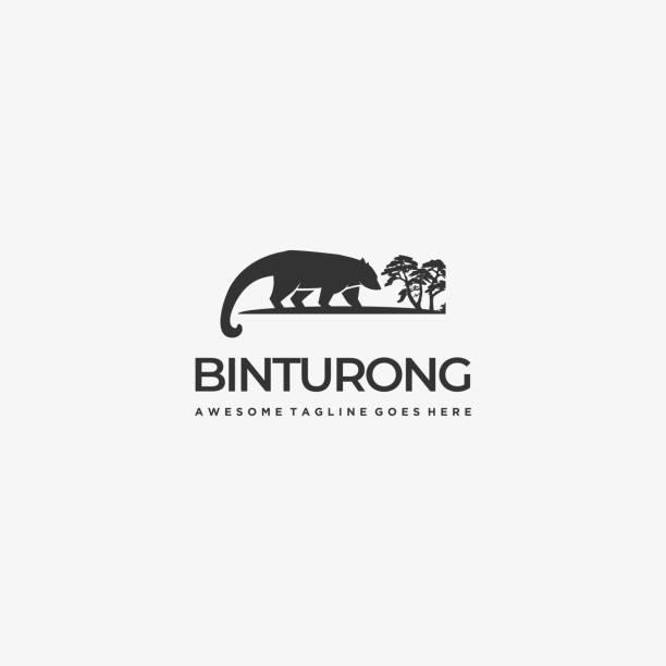 bildbanksillustrationer, clip art samt tecknat material och ikoner med vektor illustration malajiska civet cat silhouette. - abstract silhouette art
