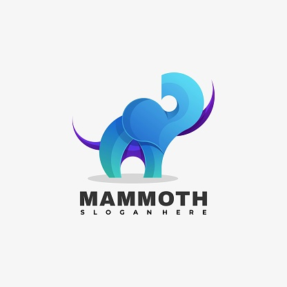 Vector Illustration Mammoth Gradient Colorful Style.
