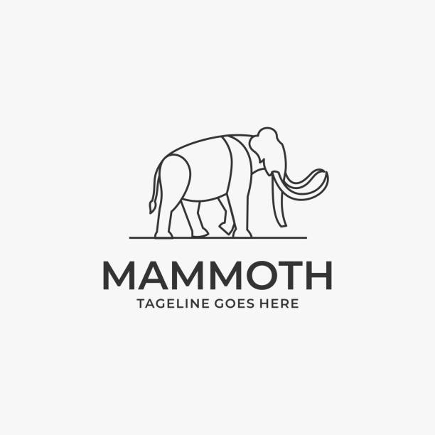 Vector Illustration Mammoth Walking Line Art. Vector Illustration Mammoth Walking Line Art. mammal stock illustrations