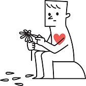 Vector illustration Man Plucking Petals Off a Daisy