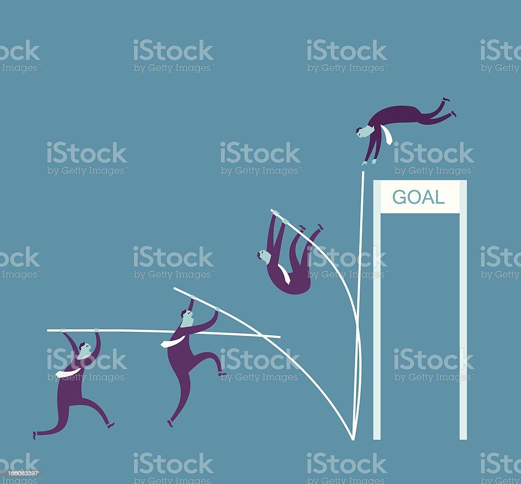 Vector illustration, man pole vaulting 'goal' royalty-free stock vector art