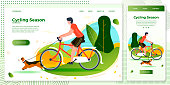 Vector cross platform illustration set - man riding on bike with dog. Park, trees and hills on green background. Browser and mobile phone template with place for your text.
