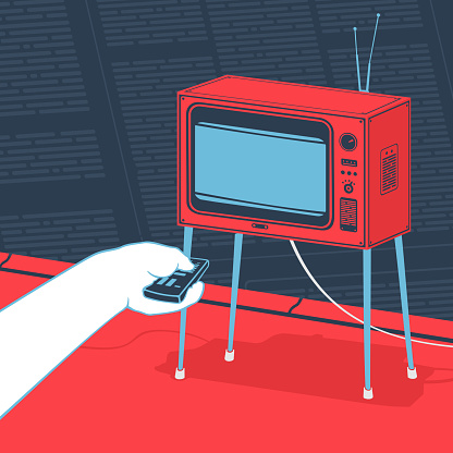 Vector Illustration Man Watching Tv Concept