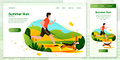 Vector cross platform illustration set - man with dog running in park. Forests, trees and hills on green background. Browser and mobile phone template with place for your text.