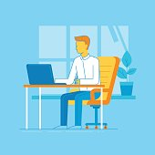 Vector illustration - man working sitting at the desk with